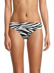 Zebra-Print Shirred Bikini Bottom