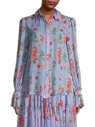 Floral Puff-Sleeve Silk Shirt