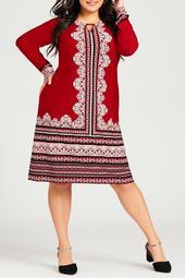 Long Sleeve Border Midi Dress