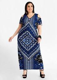 Scarf Print Cold Shoulder Dress