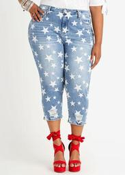 Star Distressed Hem Hi Rise Capri