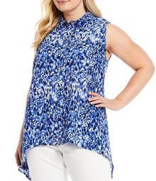 MICHAEL Michael Kors Plus Size Tonal Ikat Print Texture Crepe Button Front Handkerchief Hem Top