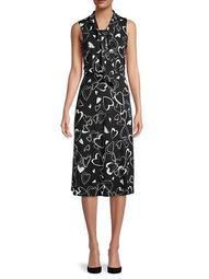 Heart Print Tie-Neck Dress