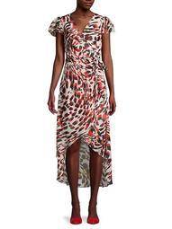 Flutter-Sleeve Printed Faux-Wrap Dress