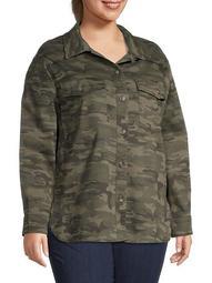Plus Camo-Print Shirt Jacket