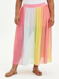 Multi Stripe High Waist Chiffon Maxi Skirt