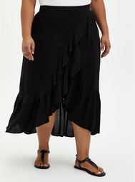 Black Challis Ruffle Hem Hi-Lo Maxi Skirt