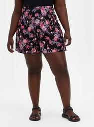 Black Floral Smocked Challis Short