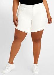 Fringe Asymmetric Hem Shorts