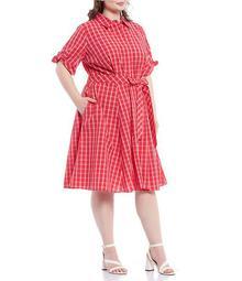 Plus Size Short Sleeve Plaid Cotton Shirt Dress