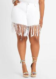 White Fringe Hi Rise Denim Short
