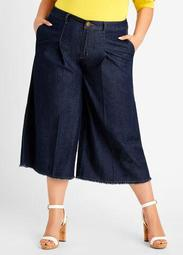 High Waist Denim Wide Leg Capri
