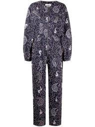 paisley-print long-sleeve jumpsuit