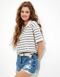 AE Cropped Striped Polo Shirt