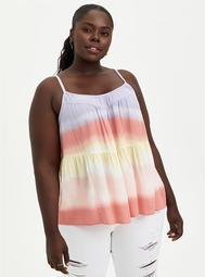 Tiered Cami - Gauze Beach Stripe Tie Dye