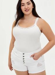 Lace Strap Rib Tank - White