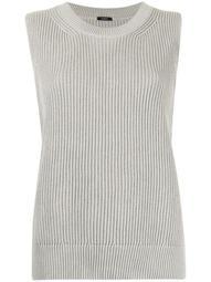 sleeveless ribbed-knit top
