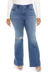 Good Flare Ripped Split Hem Flare Jeans