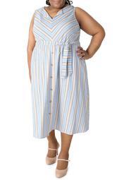 Sleeveless Split V-Neck Belted Midi Dress