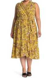 Ruffled Floral Print Wrap Dress