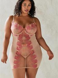 Embroidered Mesh Strappy Chemise