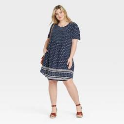 Women's Printed Short Sleeve Smocked Front Dress - Knox Rose™ Navy