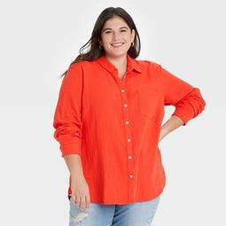Women's Long Sleeve Gauze Button-Down Shirt - Universal Thread™