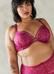 Fuchsia Lace Lightly Lined Front Closure T-Shirt Bra