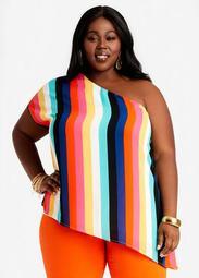 Stripe One Shoulder Blouse