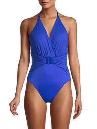 Angelina Draped Open-Back One-Piece Swimsuit