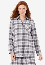 Flannel Button-Front Pajama Shirt