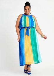 Belted Colorblock Plisse Dress