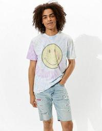 Tailgate Pride Smiley Tie-Dye Graphic T-Shirt