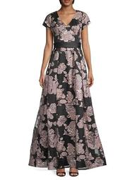 Hand-Beaded Metallic Floral Gown