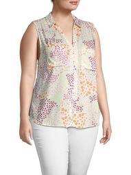 Plus Floral Sleeveless Shirt