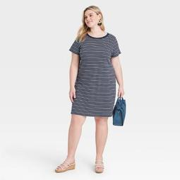 Women's Plus Size Striped Short Sleeve T-Shirt Dress - Ava & Viv™ Navy
