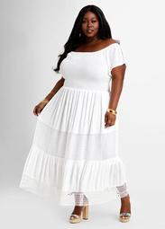 Crochet Gauze Peasant Maxi Dress