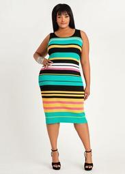 Stripe Ribbed Bodycon Dress