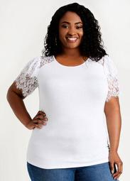 Lace Flutter Sleeve Stretch Tee
