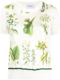 floral panel fine-knit top