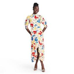 Floral Mock Neck Cascade Ruffle Dress - RIXO for Target Cream