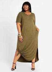 Lattice Tie Hem T Shirt Maxi Dress