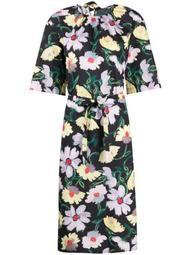 floral-print tie-waist dress