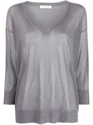 V-neck lurex-detail sweater