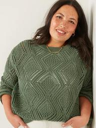 Pointelle Plus-Size Boatneck Sweater
