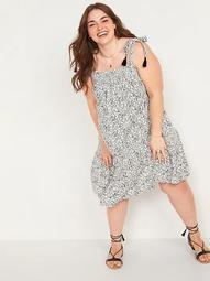 Floral-Print Tie-Strap Plus-Size Sleeveless Swing Dress