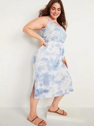 Waist-Defined Sleeveless Tie-Dye Plus-Size Cami Midi Dress