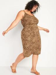 Waist-Defined Sleeveless Leopard-Print Slub-Knit Plus-Size Cami Midi Dress