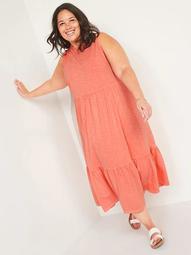 Sleeveless Garment-Dyed Fit & Flare Plus-Size Midi Dress