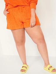 High-Waisted Plus-Size Slub-Knit Terry Lounge Shorts -- 3.5-inch inseam